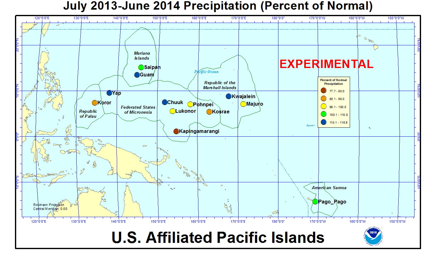 Percent of normal precipitation for last 12 months for U.S. Affiliated Pacific Island stations