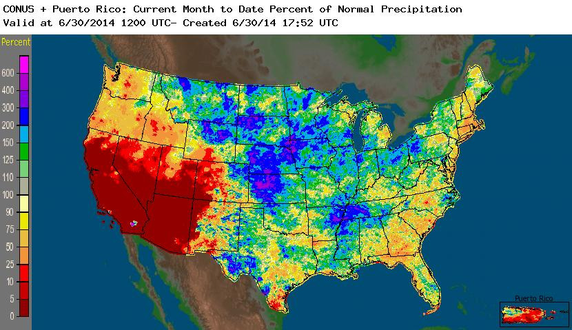 Drought June State Of The Climate National Centers For - Us map rainfall