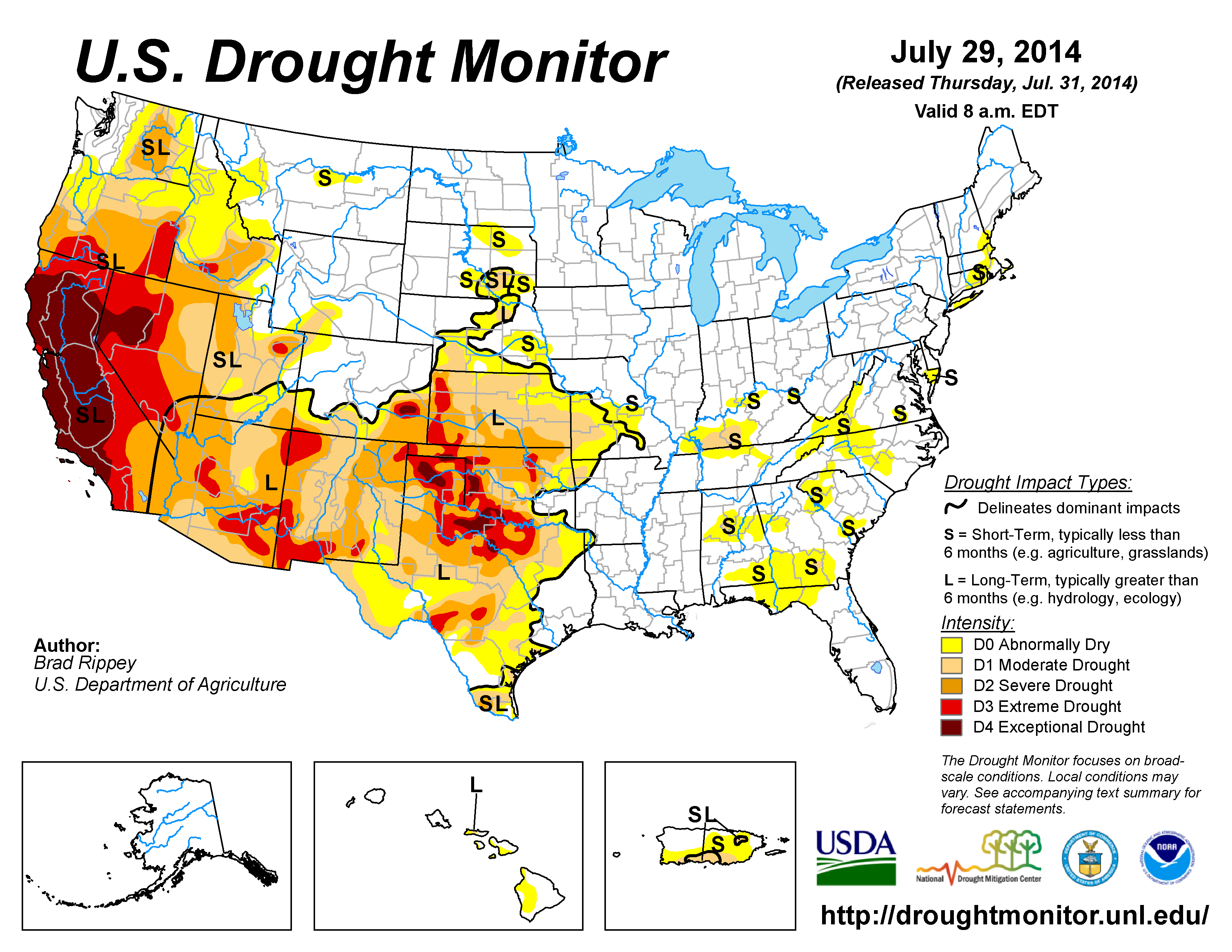 The U.S. Drought Monitor drought map valid July 29, 2014