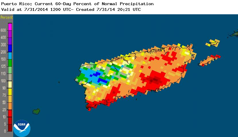 Puerto Rico percent of normal precipitation, July-August 2014