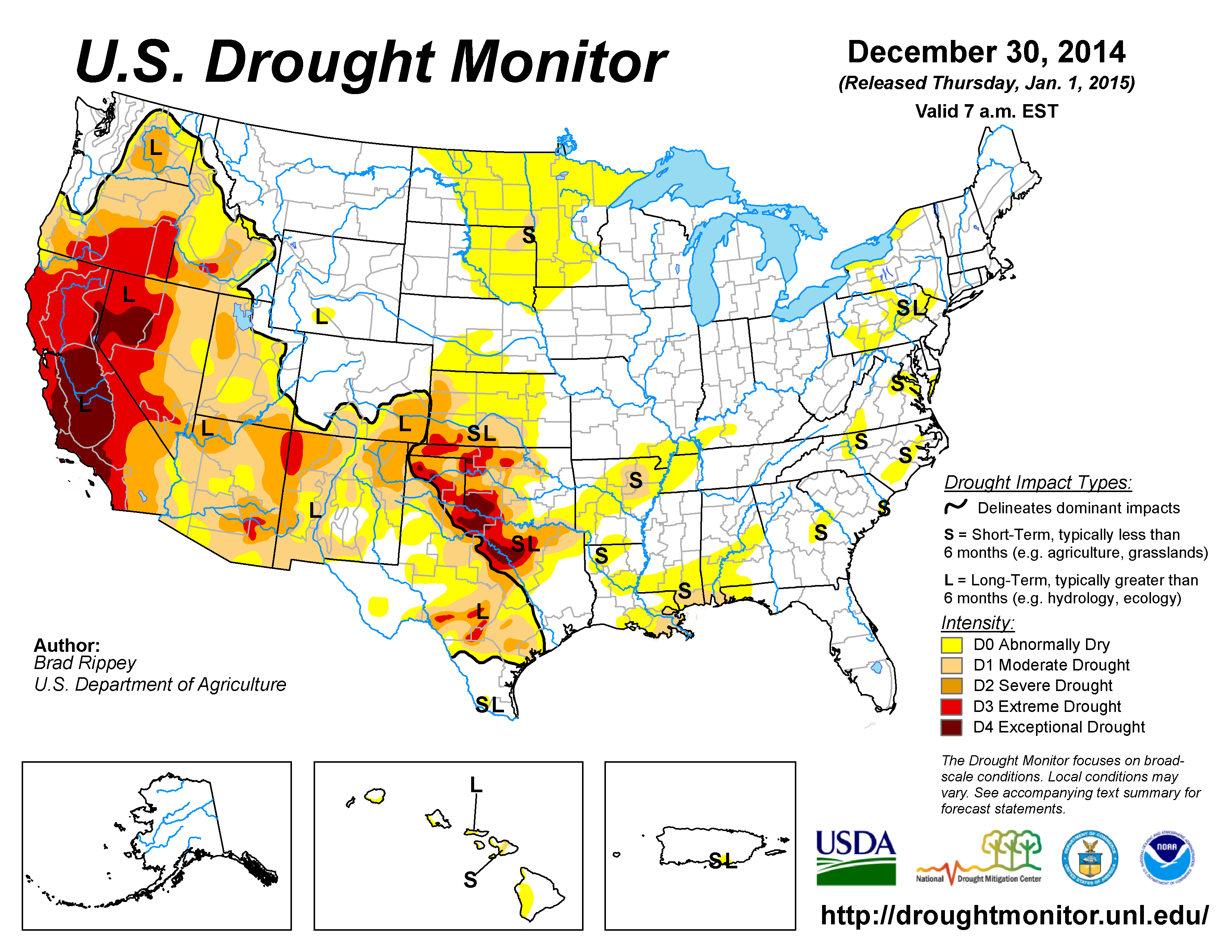 USDM map depicting drought at the end of 2014