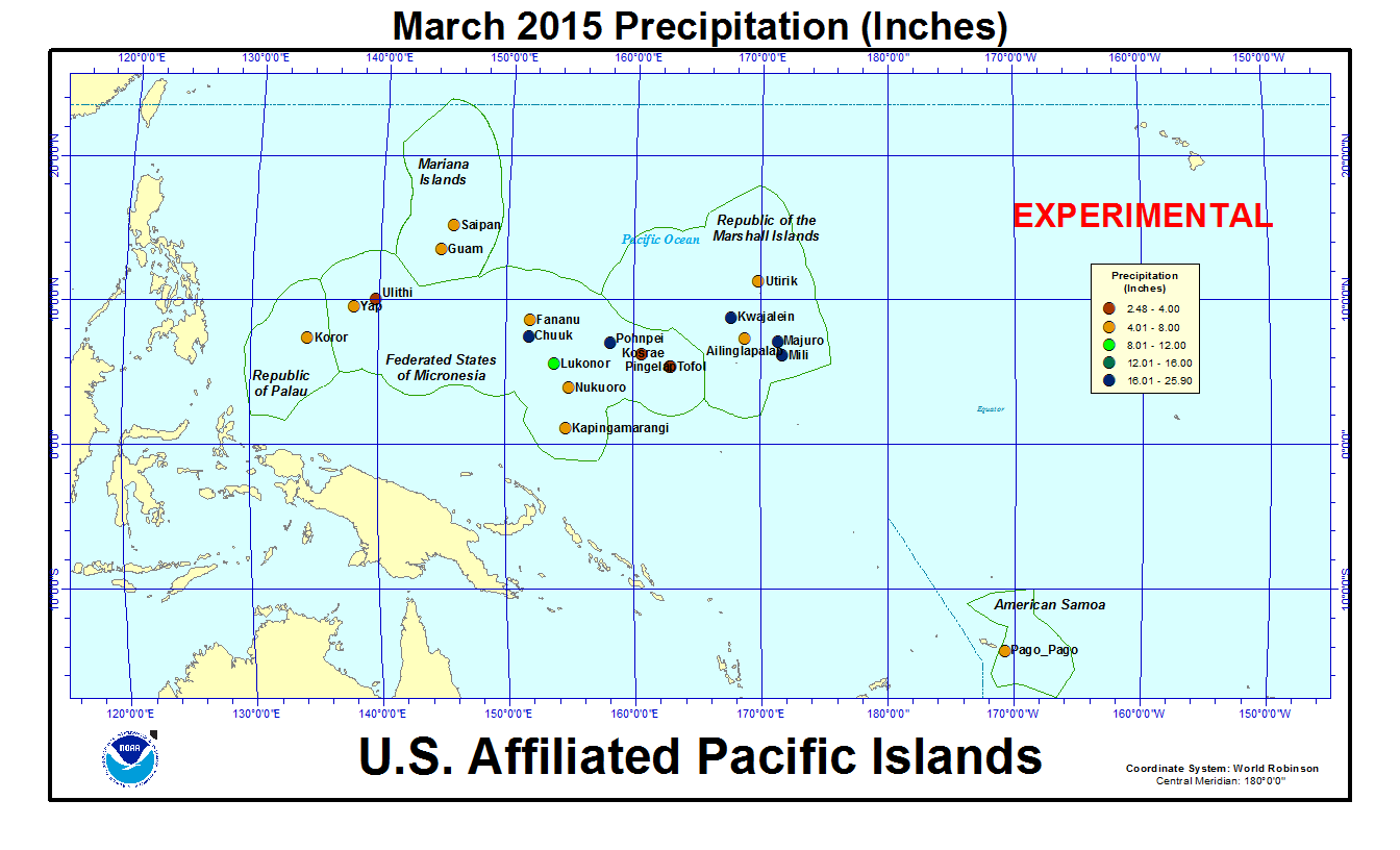 Precipitation amount for current month for U.S. Affiliated Pacific Island stations