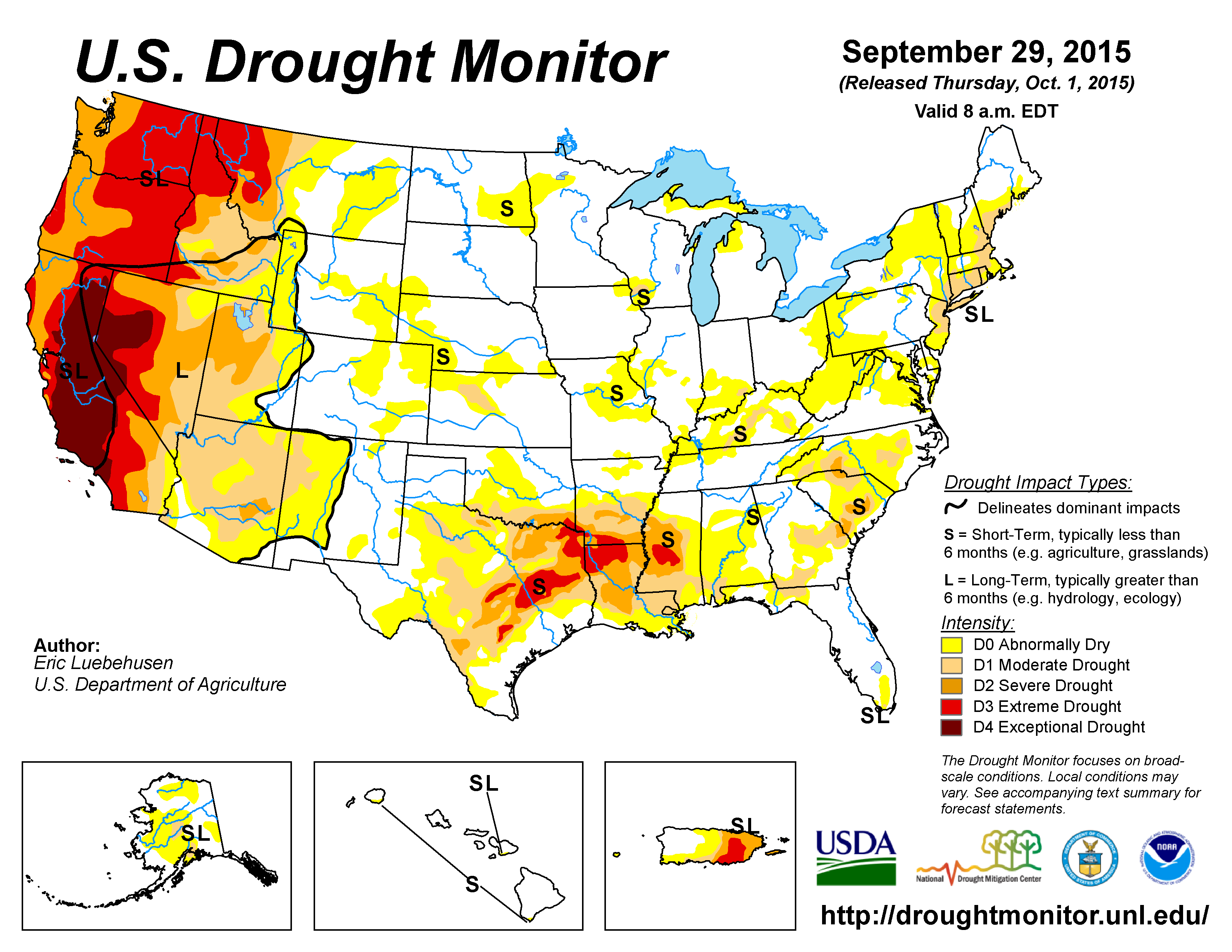 the u s drought monitor drought map valid september 29 2015