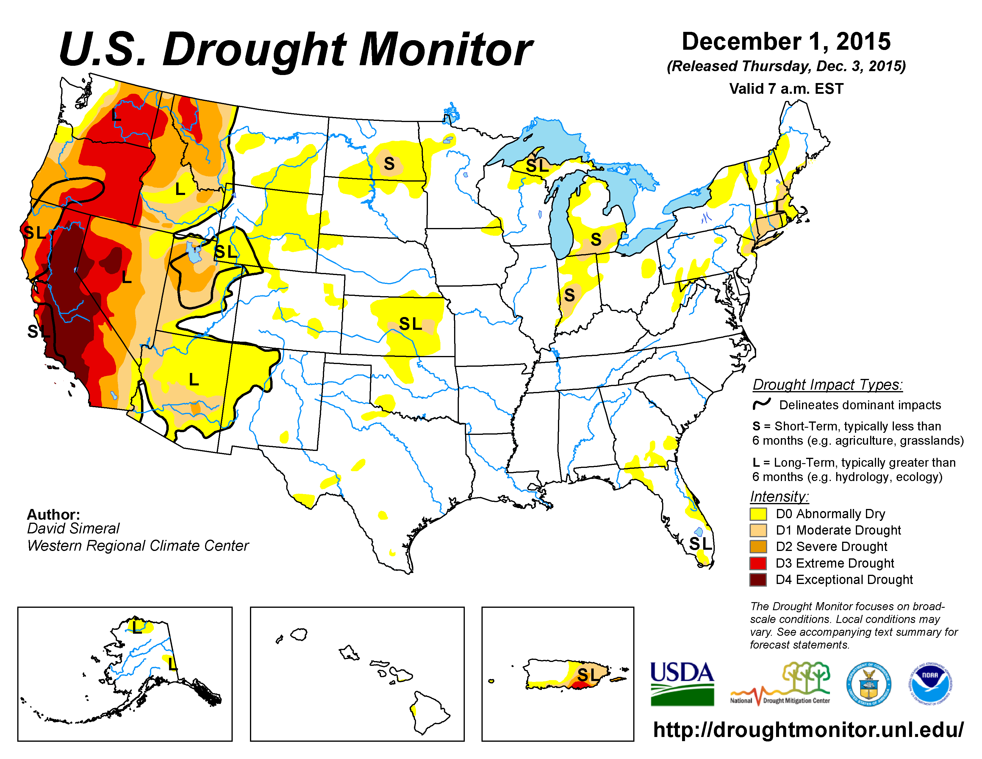 The U S Drought Monitor Drought Map Valid December 1 2015