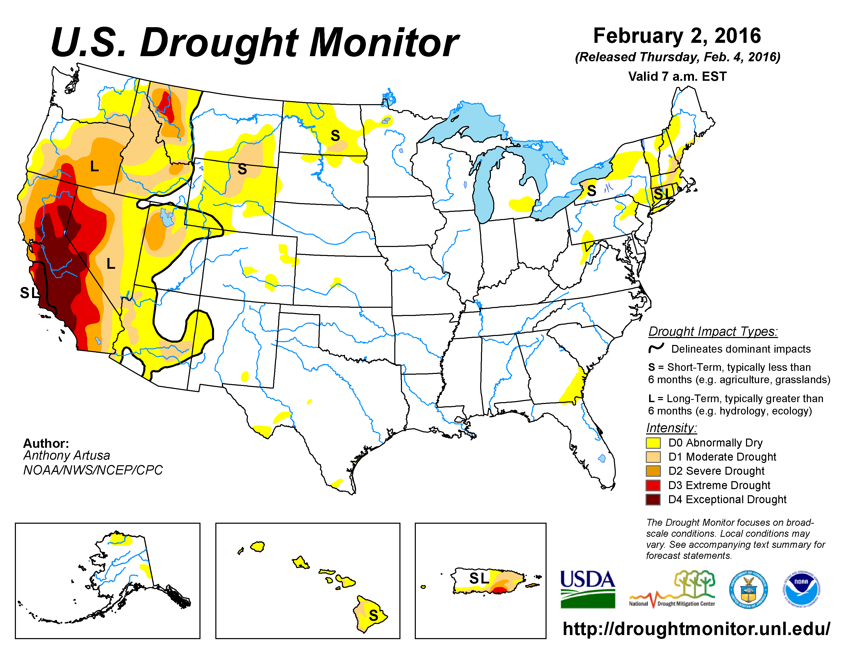 The U.S. Drought Monitor drought map valid February 2, 2016