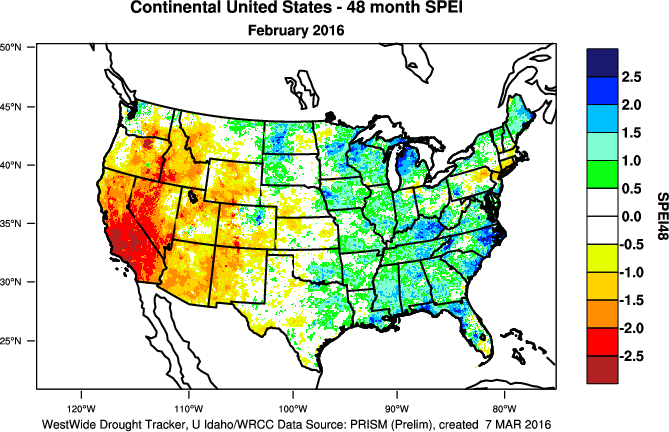 Drought February State Of The Climate National Centers - Percipitation map of us