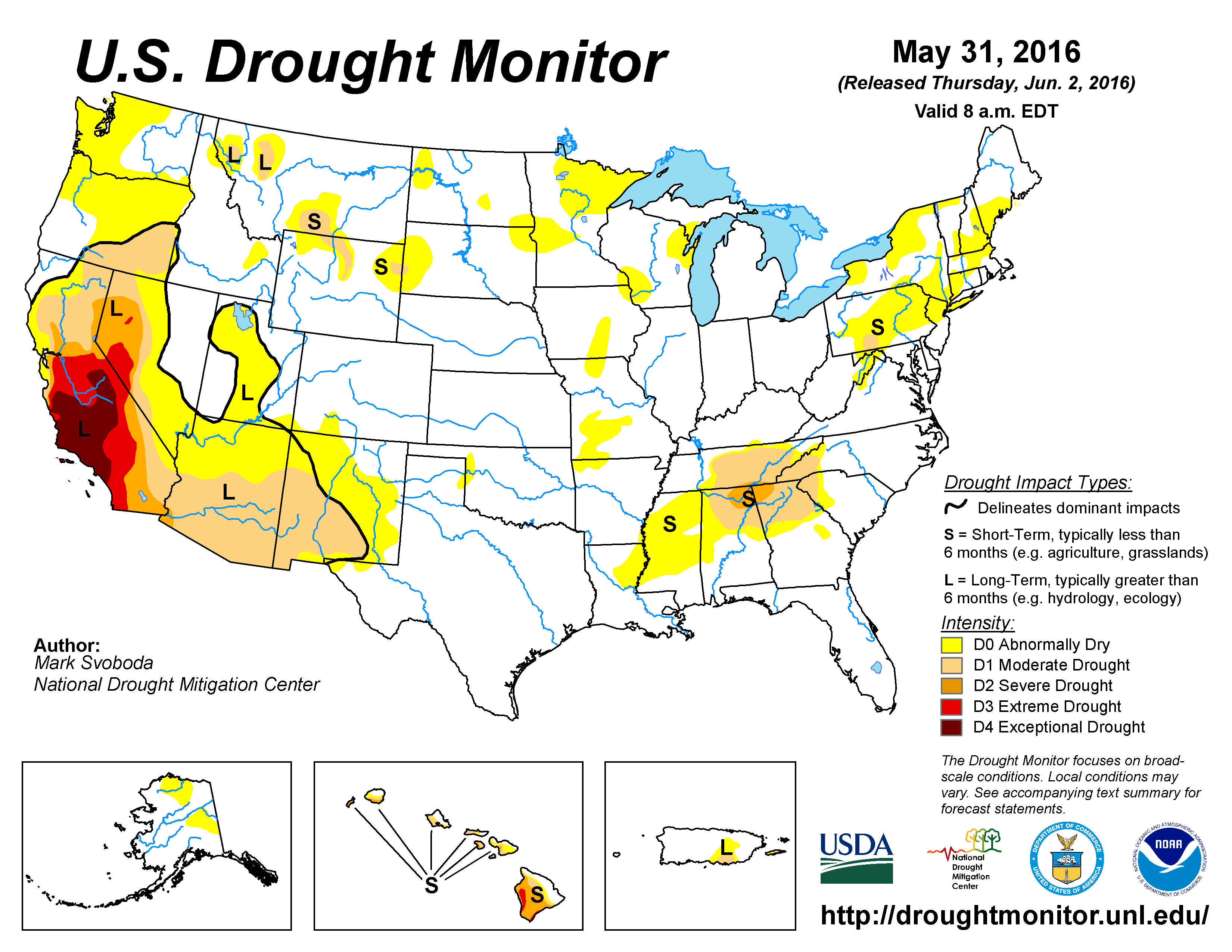 The U S Drought Monitor Drought Map Valid May 31 2016