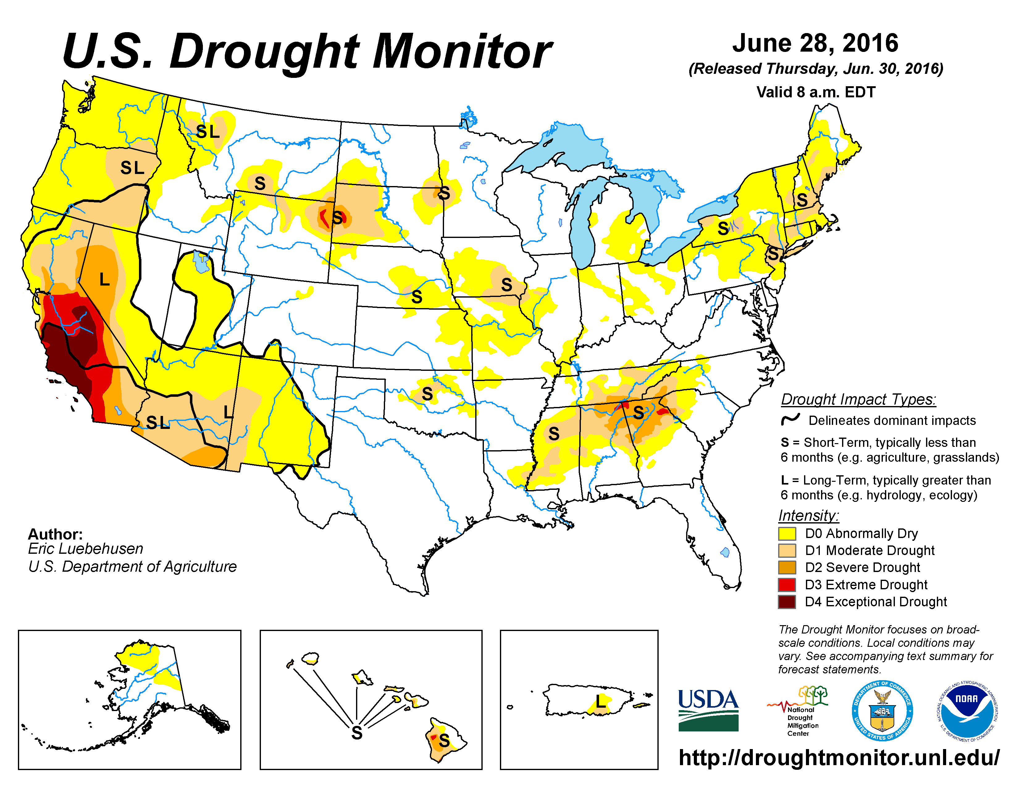 The U.S. Drought Monitor drought map valid June 28, 2016