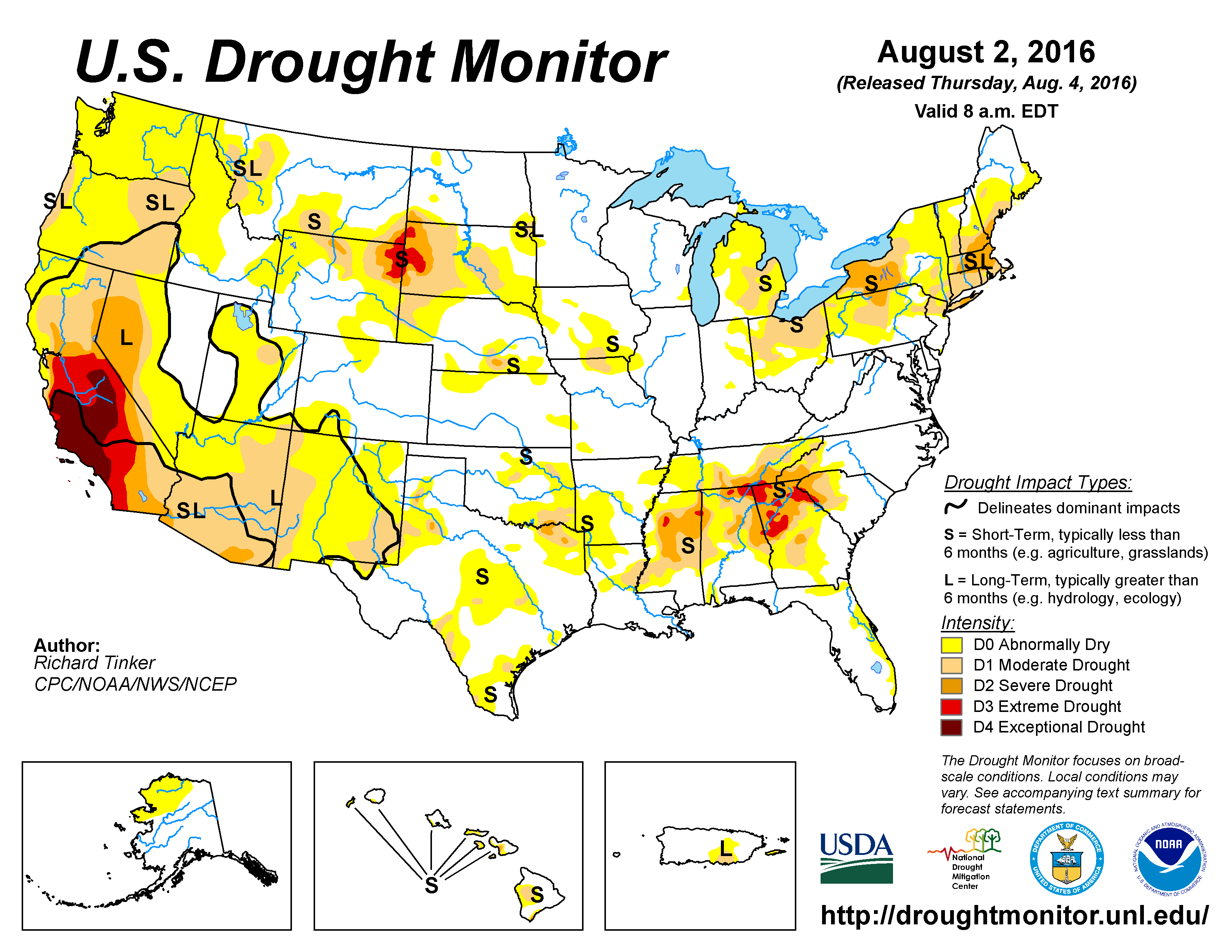 The U.S. Drought Monitor drought map valid August 2, 2016