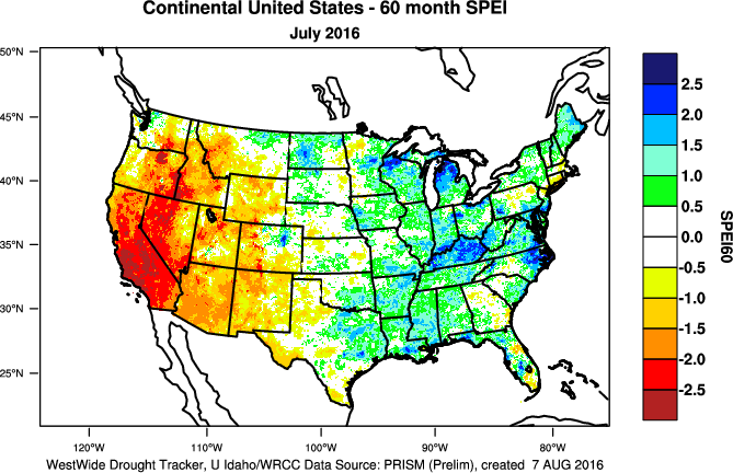 60-month SPEI map
