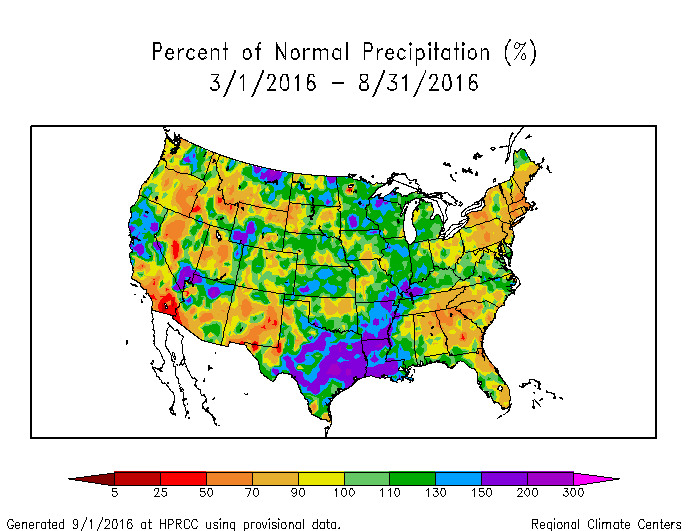 The Dry March August Is Evident In The Northeast And Southeast On Both The Precipitation Anomaly And State Rank Maps Twelve States Ranked In