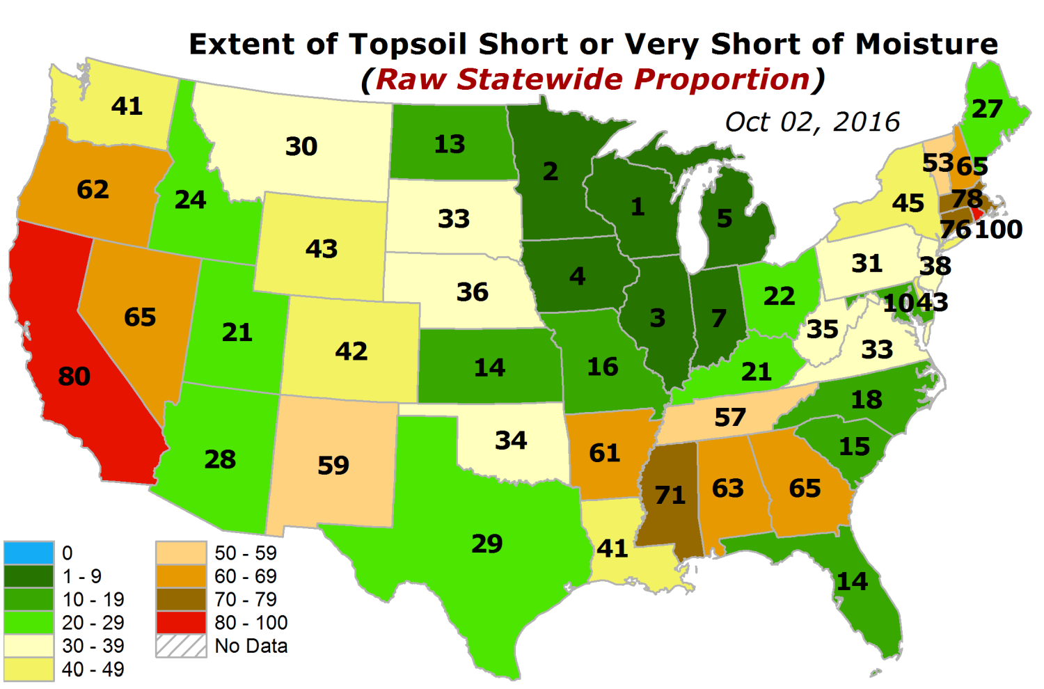 USDA topsoil and subsoil short and very short of moisture