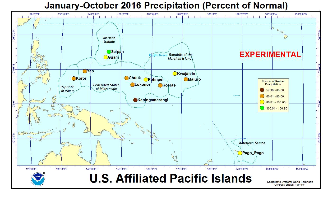 Percent of normal precipitation for the year to date for U.S. Affiliated Pacific Island stations