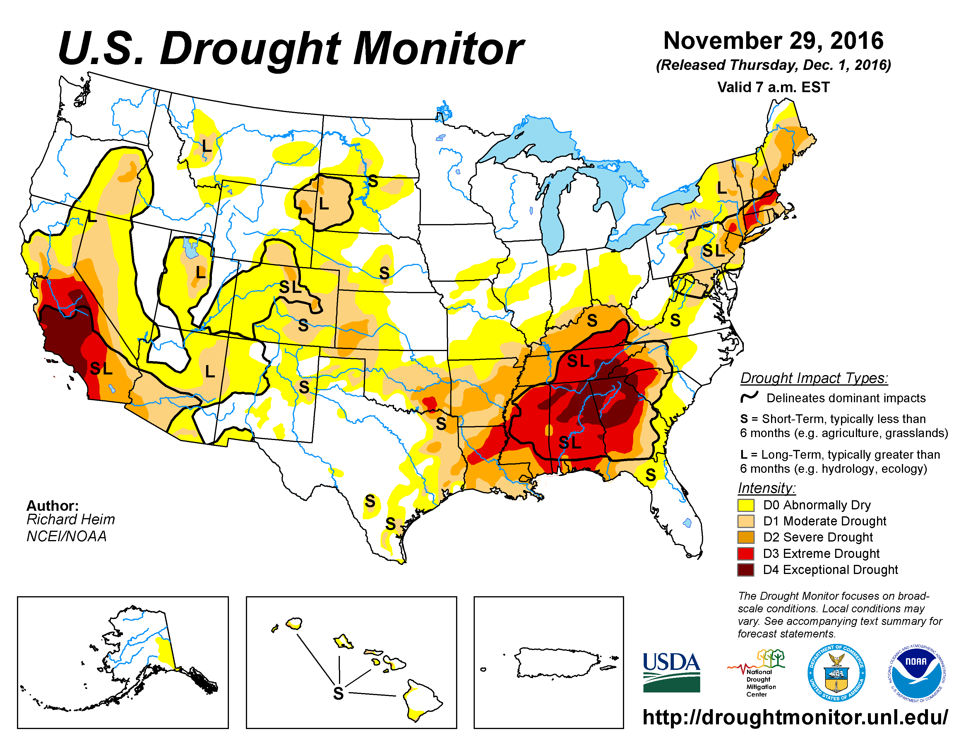The U.S. Drought Monitor drought map valid November 1, 2016