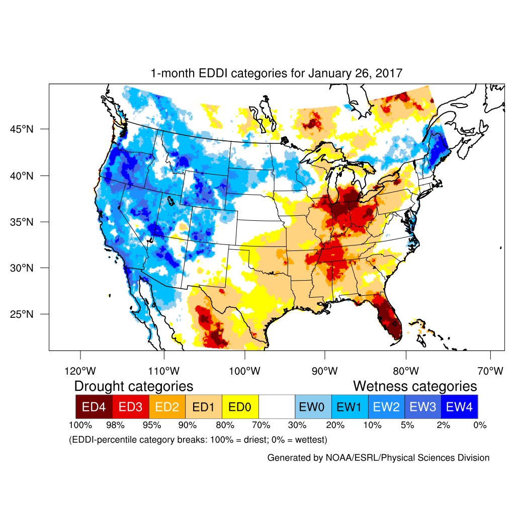 Evaporative Drought Demand Index (EDDI) map for current month