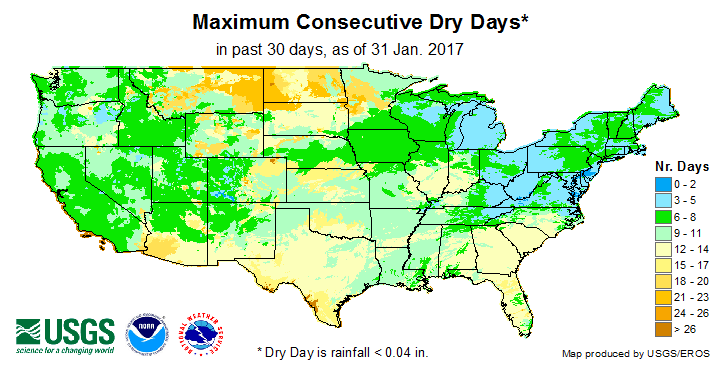 USGS maximum consecutive dry days map for current month