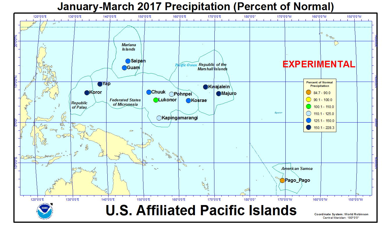 Percent of normal precipitation for last 3 months for U.S. Affiliated Pacific Island stations