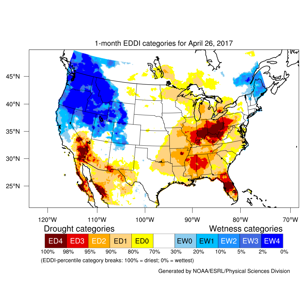 Drought April State Of The Climate National Centers For - Wildfires in southeastern us map