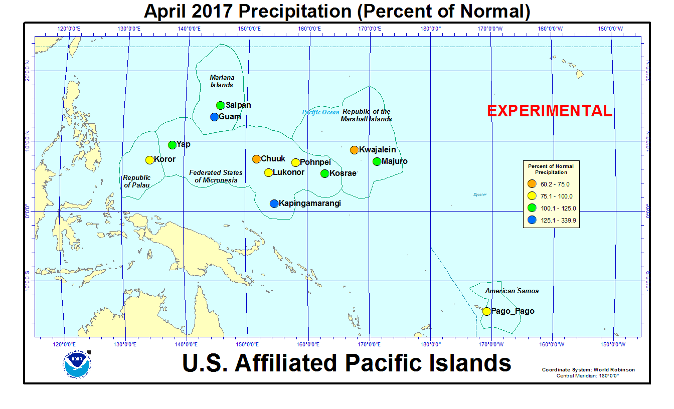 Percent of normal precipitation for current month for U.S. Affiliated Pacific Island stations