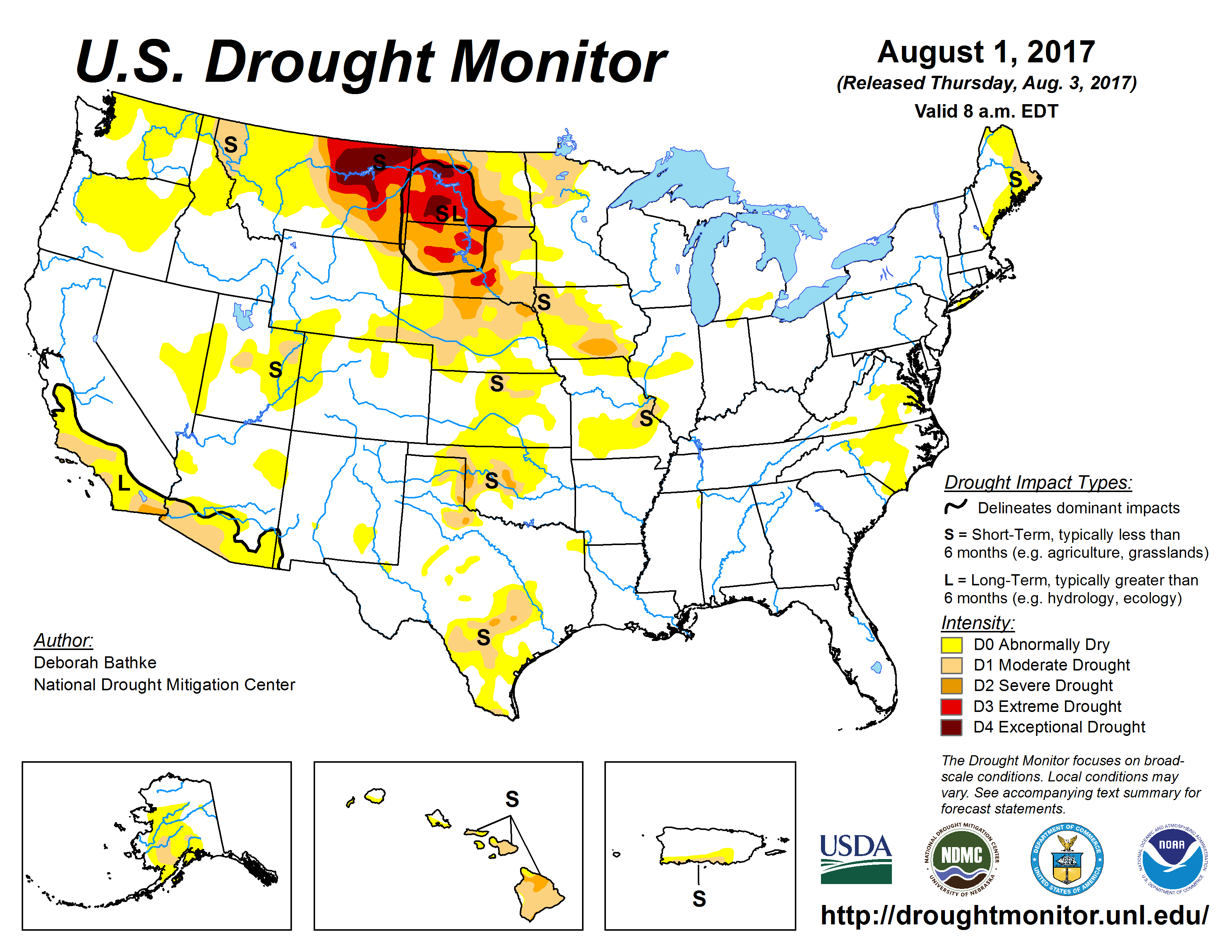 The U.S. Drought Monitor drought map valid August 1, 2017