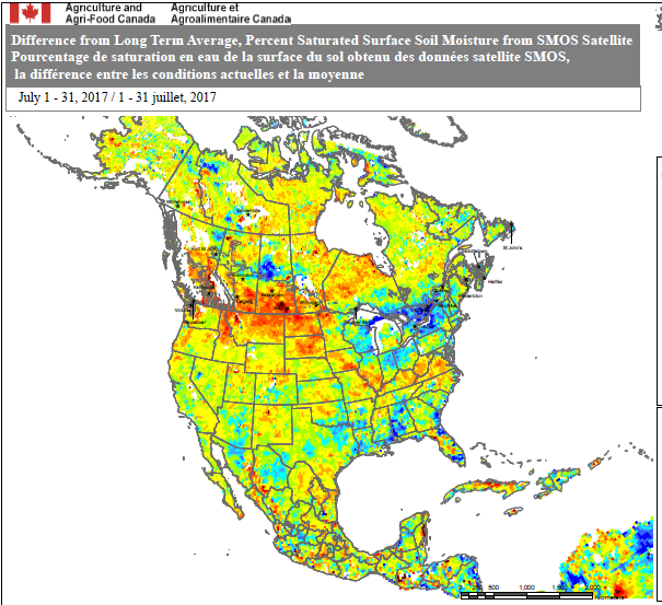 SMOS soil moisture percentiles map for current month