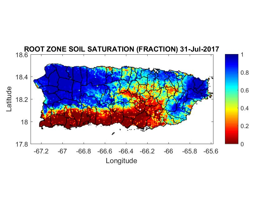 Root zone soil saturation for Puerto Ricl, July 31, 2017