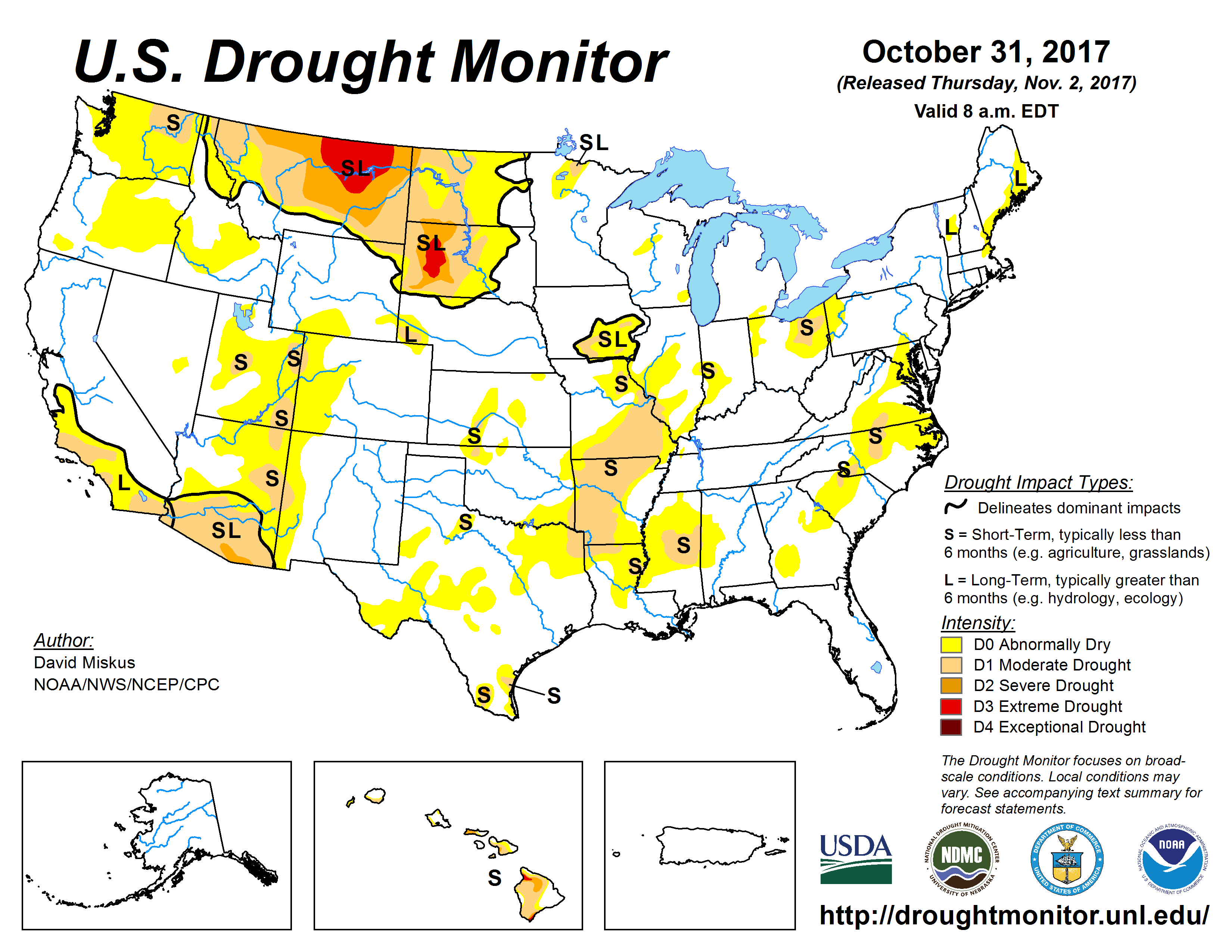 The U.S. Drought Monitor drought map valid October 31, 2017