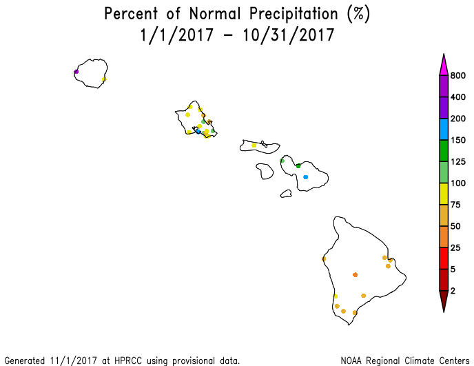 Map of percent of normal precipitation for Hawaii, January-October 2017