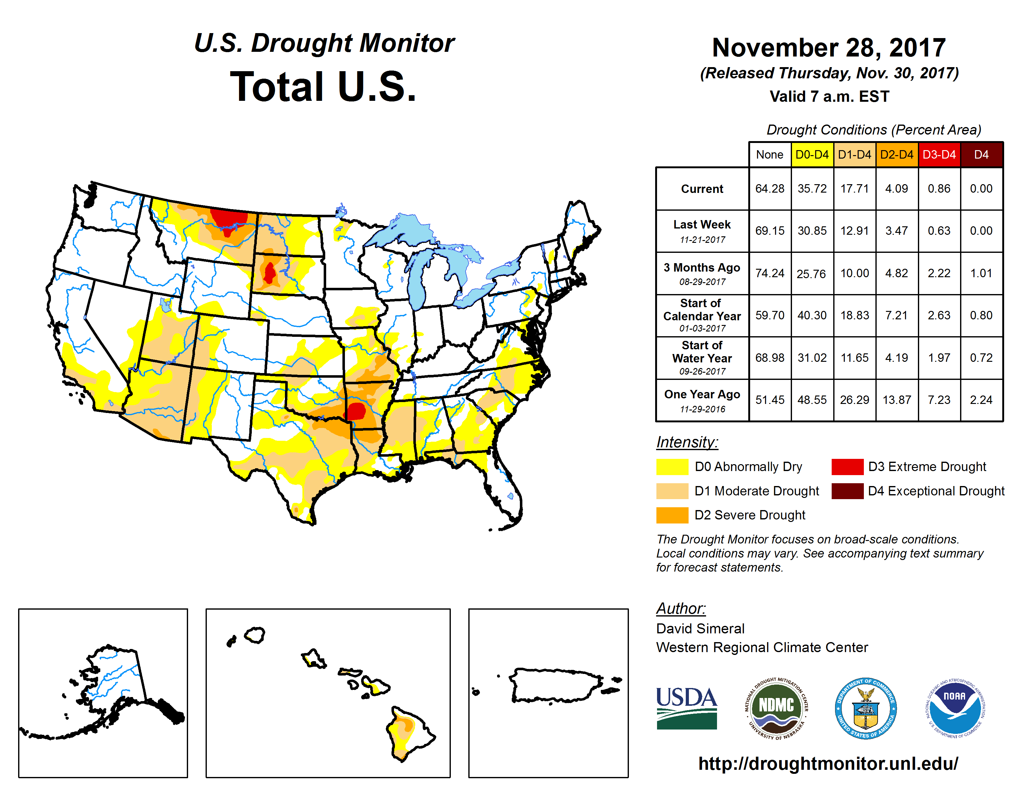The U.S. Drought Monitor drought map valid November 28, 2017