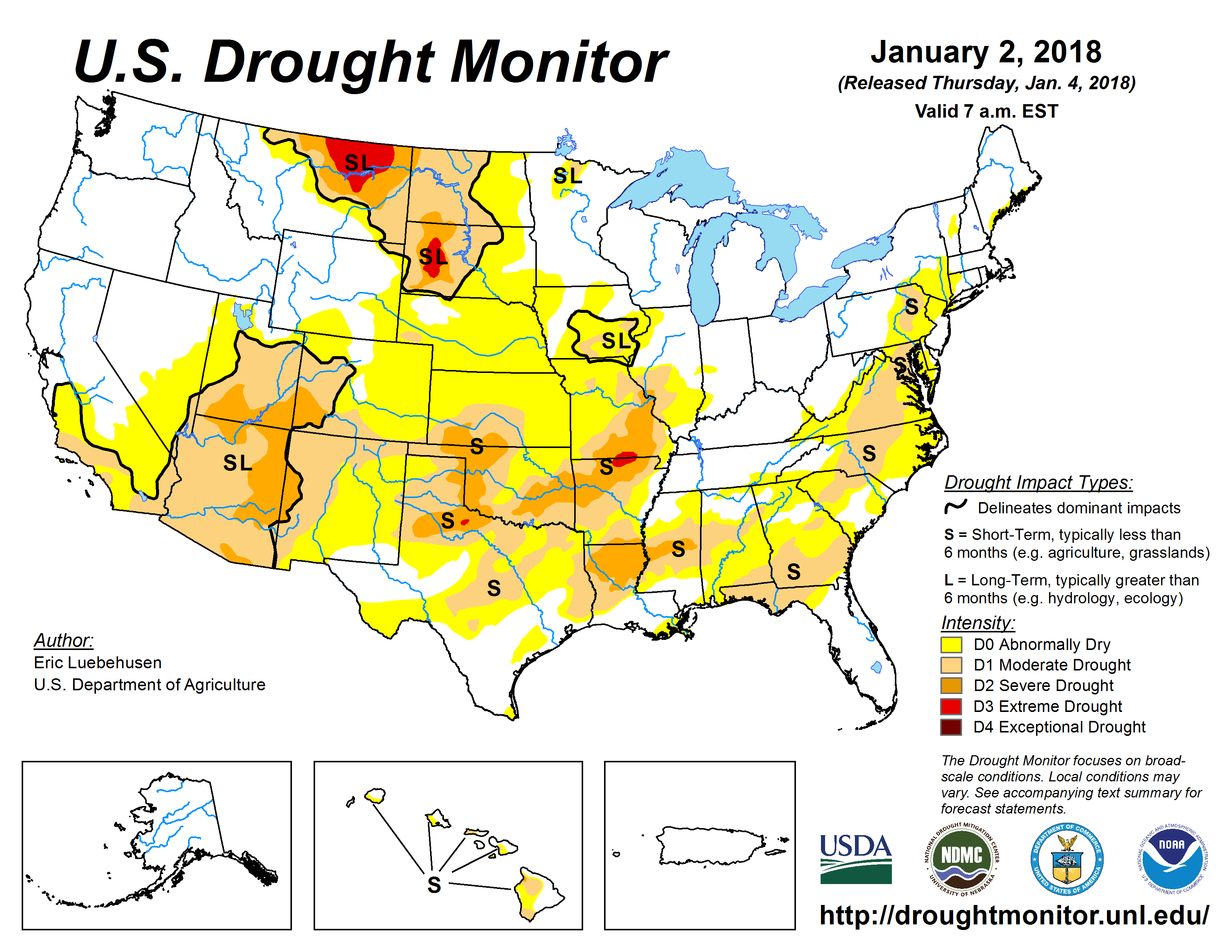 The U.S. Drought Monitor drought map valid January 2, 2018