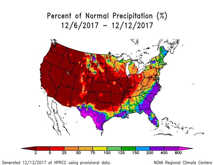 Precipitation anomalies (percent of normal) for the CONUS for December 6-12, 2017