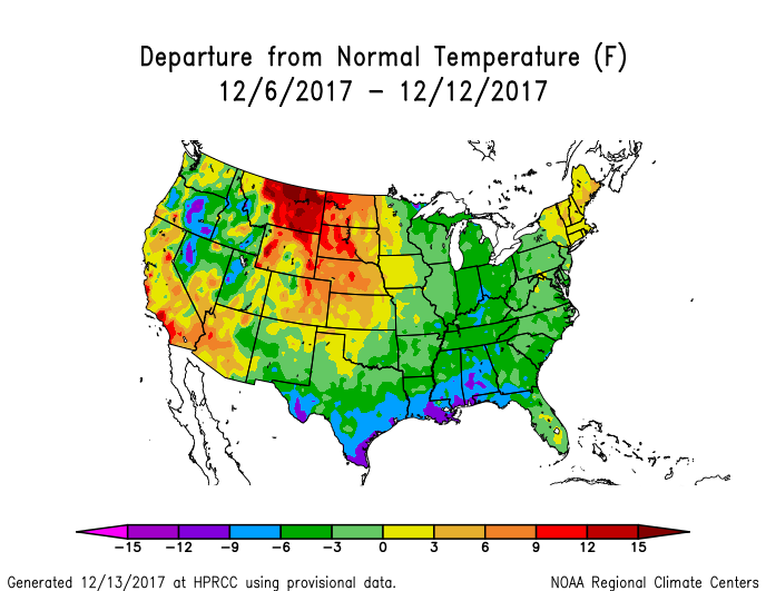 Temperature anomalies (departure from normal) for the CONUS for December 6-12, 2017