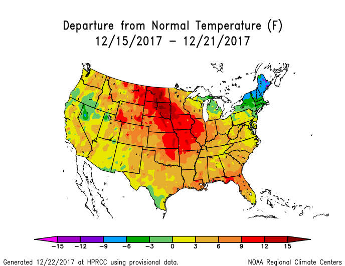 Temperature anomalies (departure from normal) for the CONUS for December 15-21, 2017