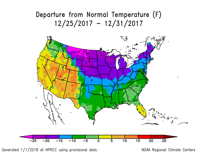 Temperature anomalies (departure from normal) for the CONUS for December 25-31, 2017
