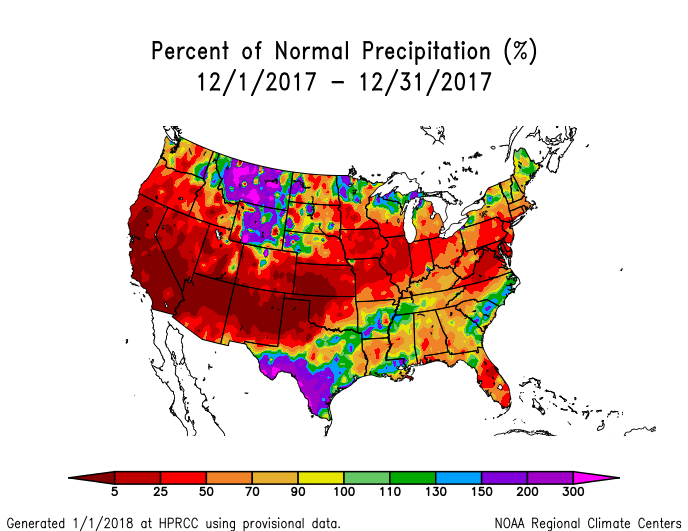 Precipitation anomalies (percent of normal) for the CONUS for December 2017