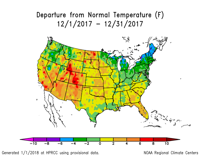 Temperature anomalies (departure from normal) for the CONUS for December 2017