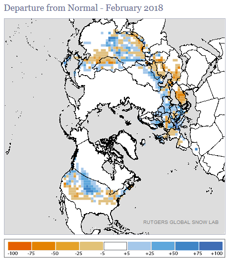 National snow ice february 2018 state of the climate above average snow cover sciox Gallery