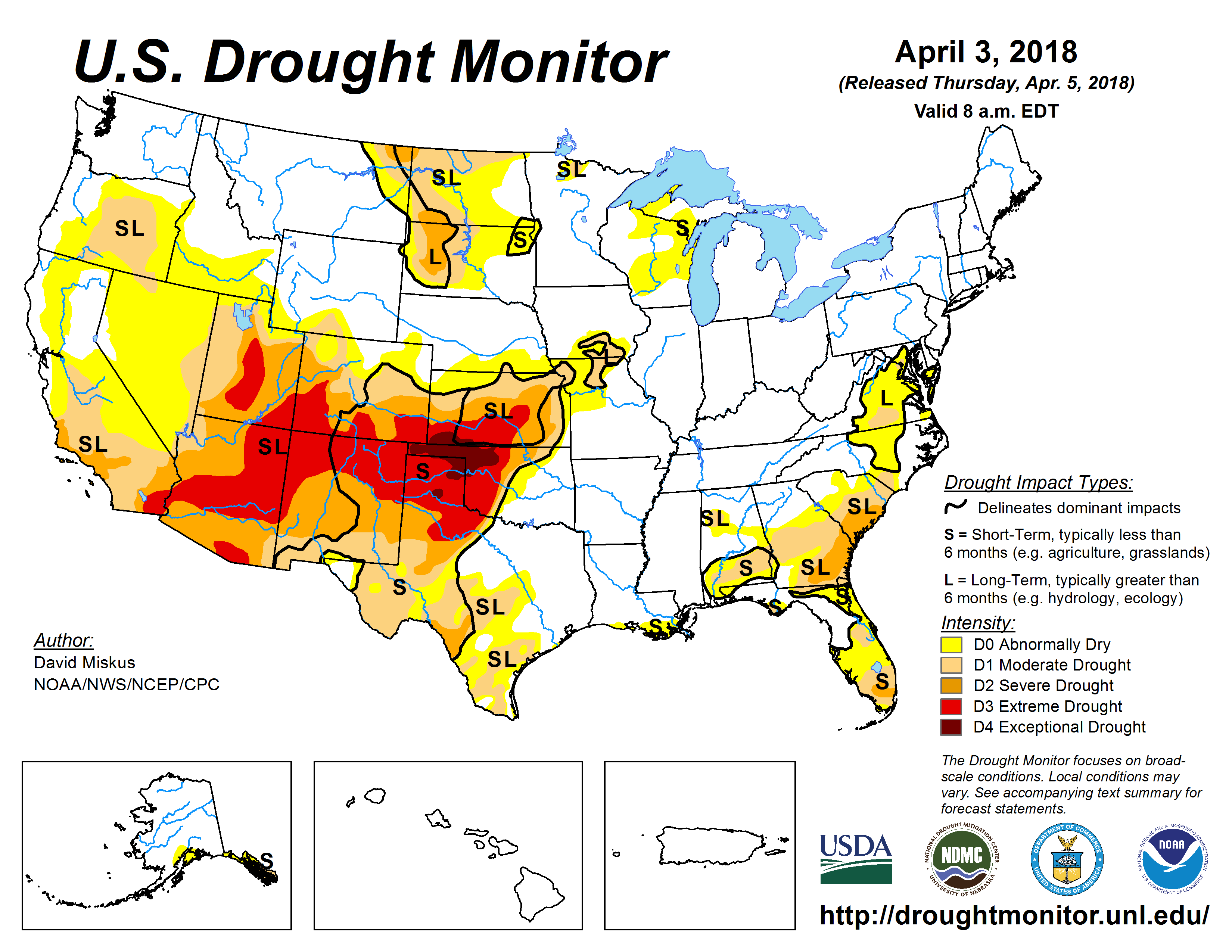 The U.S. Drought Monitor drought map valid April 3, 2018