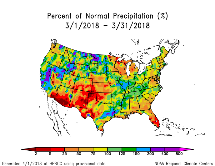 the dry conditions during march were a continuation of persistent dryness since october in the southern high plains to central plains and coastal southeast