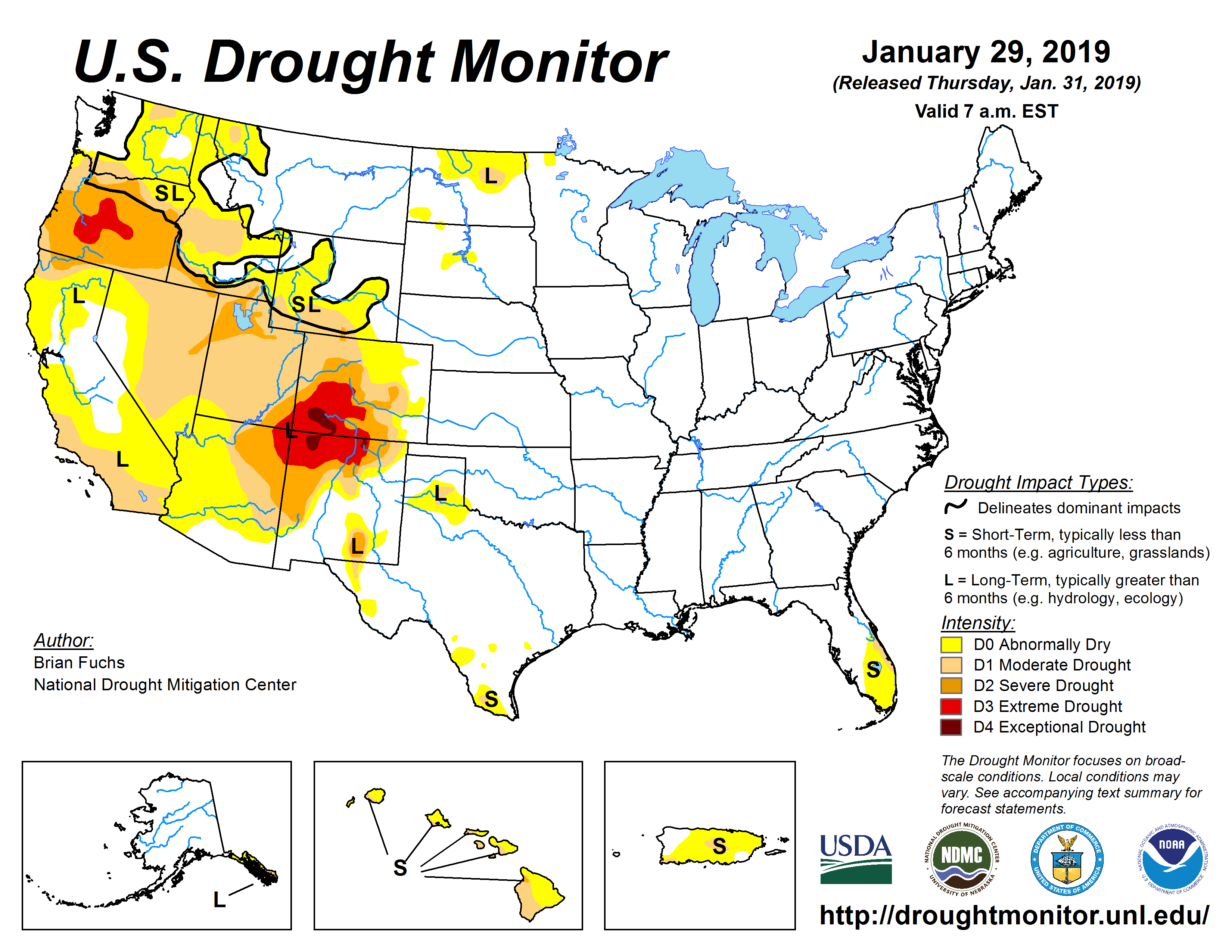 The U.S. Drought Monitor drought map valid January 29, 2019