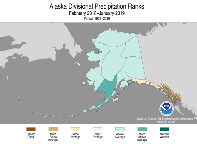 Alaska climate division precipitation rank map, February 2018-January 2019