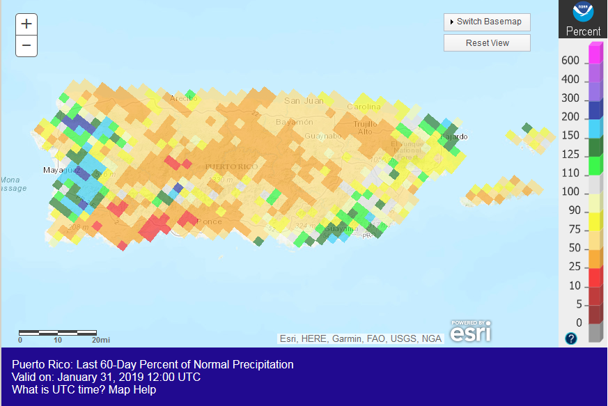 Puerto Rico percent of normal precipitation map, December 2018-January 2019