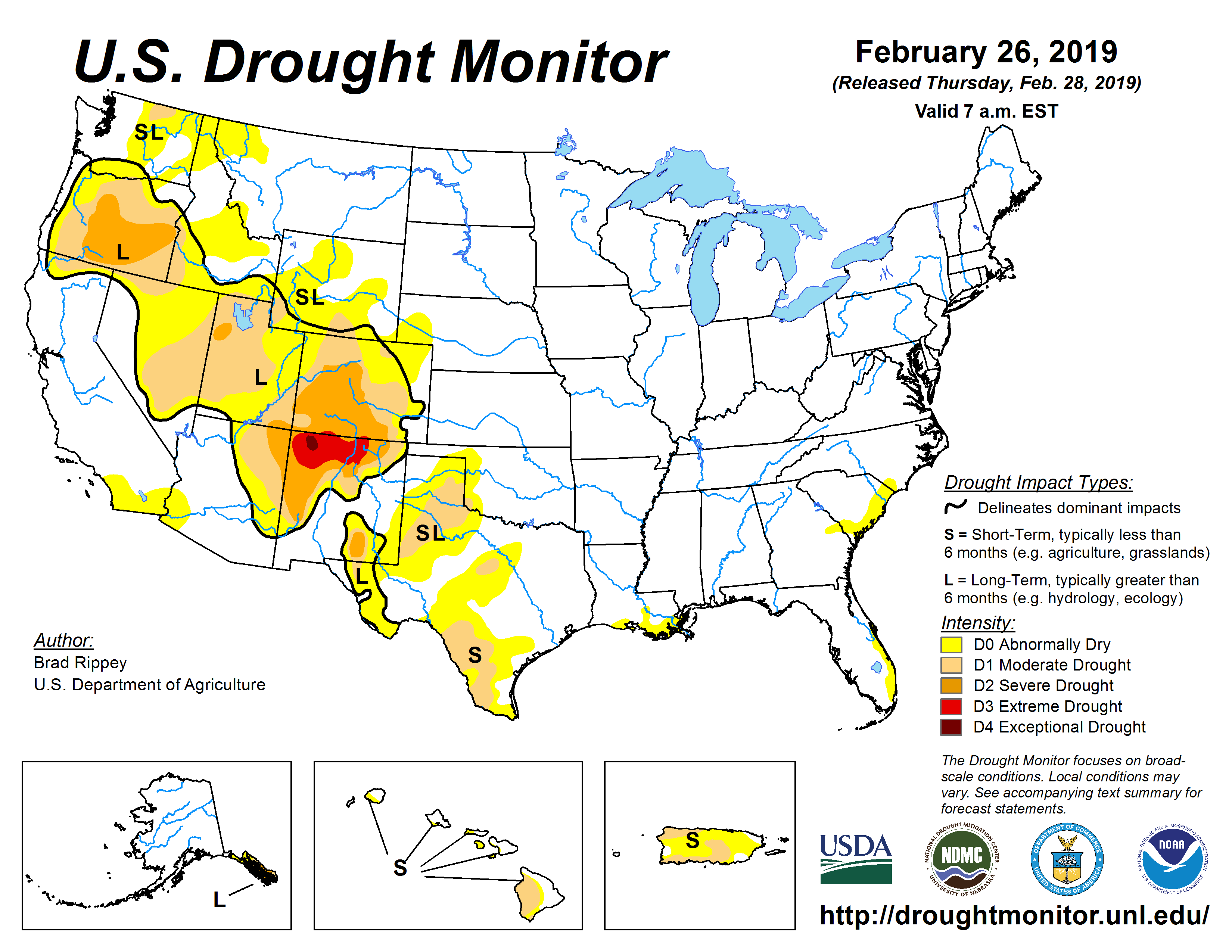 The U.S. Drought Monitor drought map valid February 26, 2019