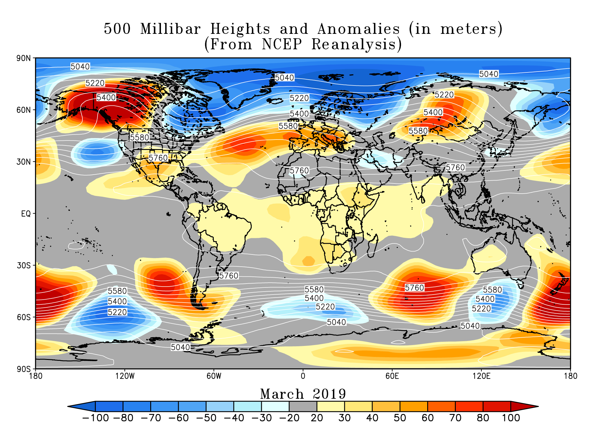 Northern Hemisphere monthly upper-level circulation pattern and anomalies (cylindrical projection)