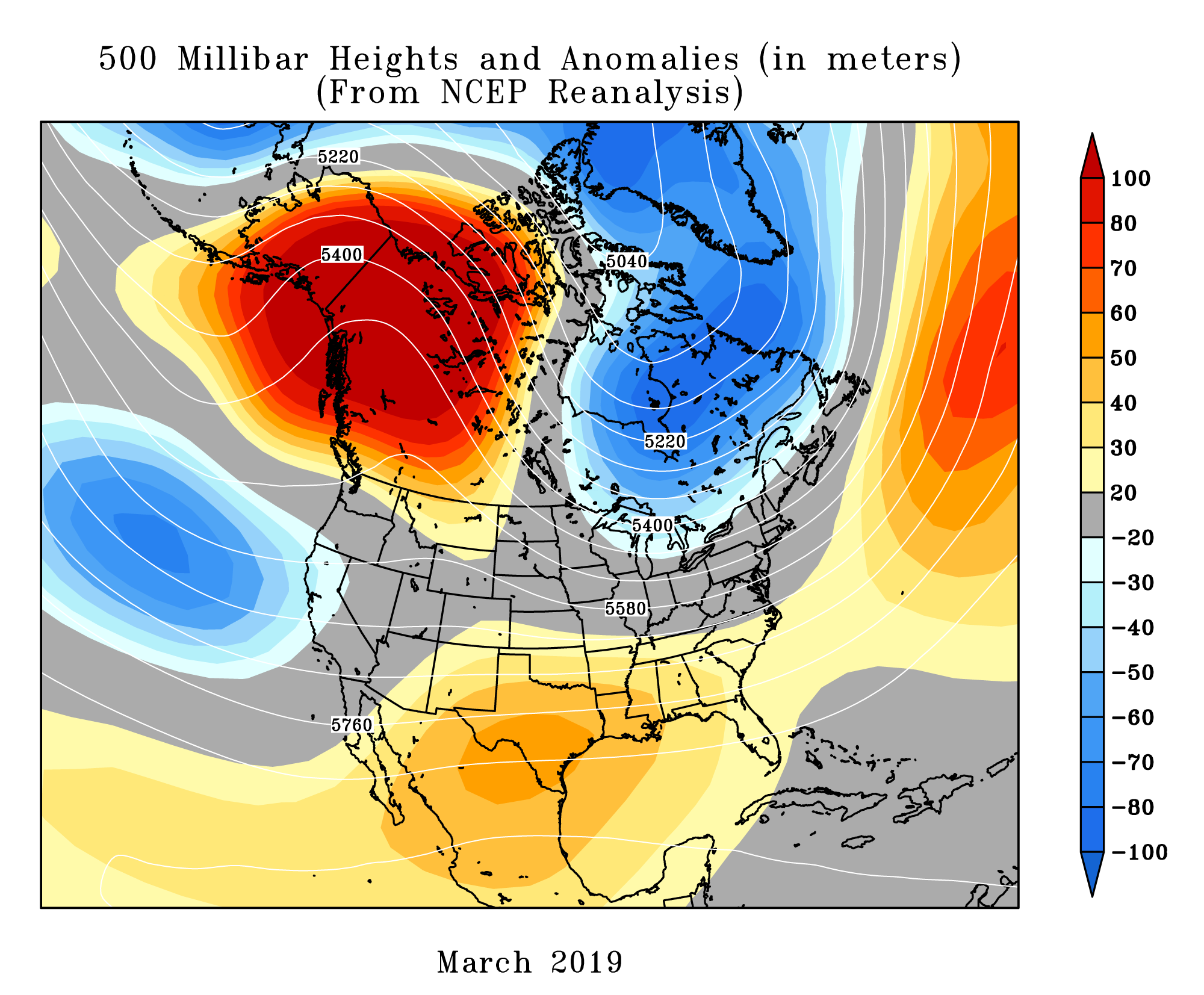 North America monthly upper-level circulation pattern and anomalies