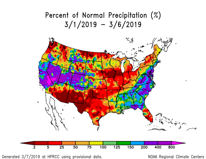 Precipitation anomalies (percent of normal) for the CONUS for March 1-6, 2019