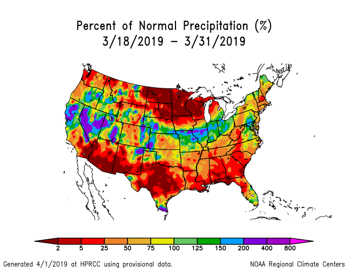 Precipitation anomalies (percent of normal) for the CONUS for March 18-31, 2019