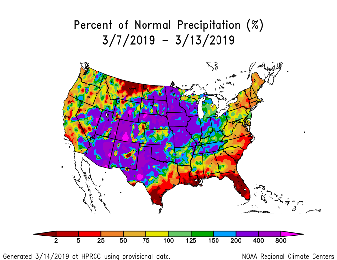 Precipitation anomalies (percent of normal) for the CONUS for March 7-13, 2019