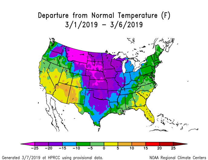 Temperature anomalies (departure from normal) for the CONUS for March 1-6, 2019