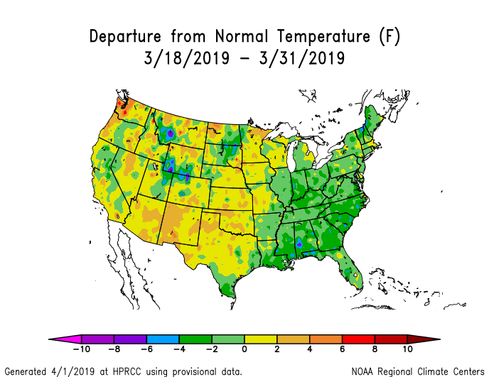 Temperature anomalies (departure from normal) for the CONUS for March 18-31, 2019